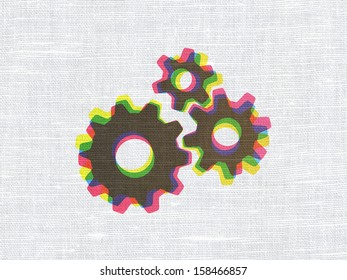 Information concept: CMYK Gears on linen fabric texture background, 3d render