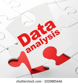 Information concept: Data Analysis on White puzzle pieces background, 3D rendering
