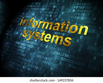 Information concept: pixelated words Information Systems on digital background, 3d render