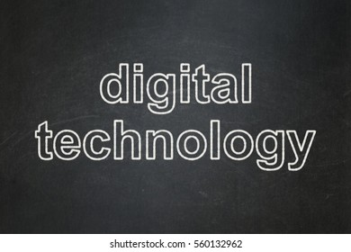 Information concept: text Digital Technology on Black chalkboard background
