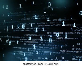 information data technology. binary code bit information. big non order zeros and ones text number in front of smaller regular line of code. motion movement in the dark blue screen