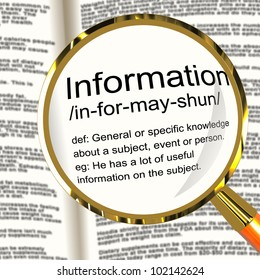Information Definition Magnifier Shows Knowledge Data And Facts