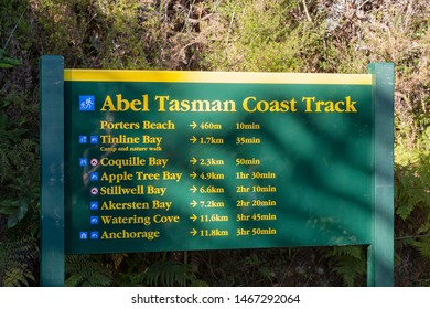 Information and direction signs. Abel Tasman National Park, South Island, New Zealand