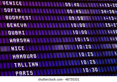 Information display of the airport with the name of cities and start time