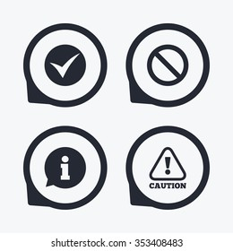 Information icons. Stop prohibition and attention caution signs. Approved check mark symbol. Flat icon pointers.