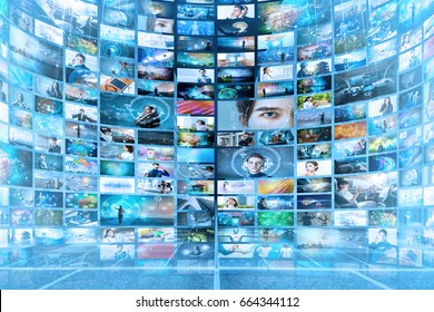 Information network concept. Virtual museum. Video streaming service.