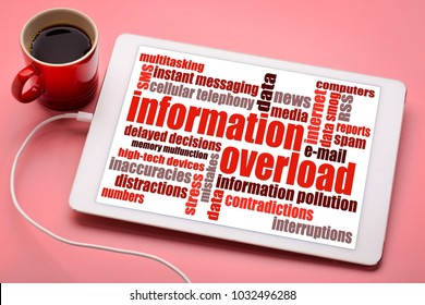 information overload concept - word cloud on a digital tablet with a cup of coffee