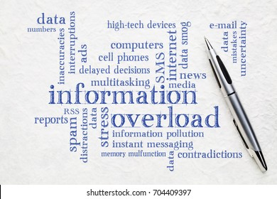 information overload concept - word cloud on a white textured paper