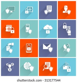 Information security cyber data protection computer network icon flat set isolated  illustration