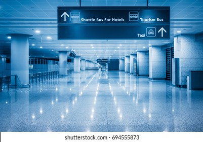 information signboard in airport,blue toned.