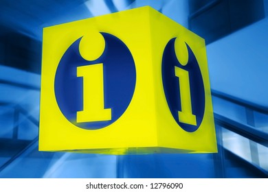 information signboard. yellow shield