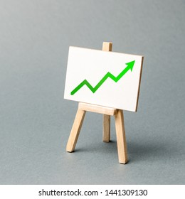 Information stand with a green arrow up. Favorable conditions for business. Investment attraction. Increase profits and wealth. growth of wages, prices for manufactured and sold goods.