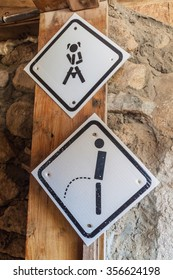 Information symbols on a toilet