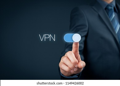 Information technologist switch on VPN. Private network security concept.
