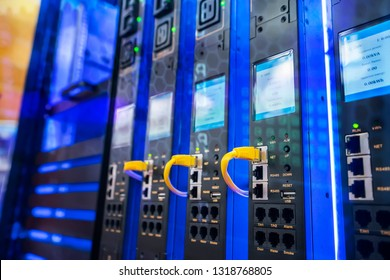 Information Technology Computer Network, Telecommunication Ethernet Cables Connected to Internet Switch.