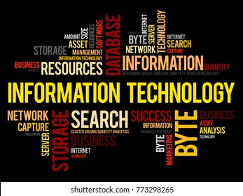 Information technology word cloud collage, business concept background