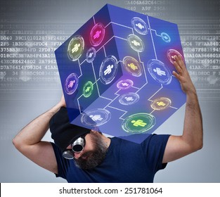 Information technology worker carrying the weight of the social networking world