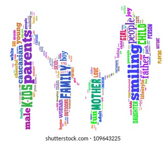 Info-text graphics Family composed in Mother-Father-Daughter-Son shape concept in white background
