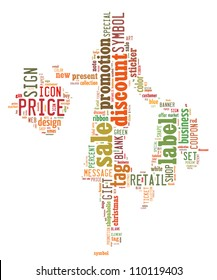 Info-text graphics Shopping composed in Woman with Shopping Bag shape concept in white background