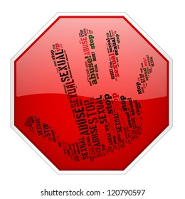 Info-text graphics Stop Sexual Abuse composed in Stop sign and hand concept