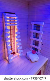 Infrared cabin illuminated in ultra violet light