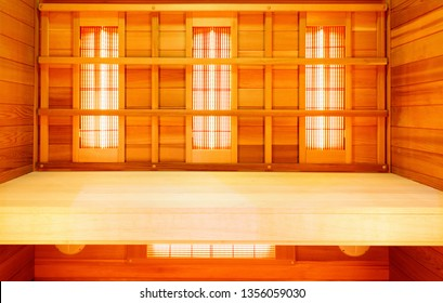 Infrared empty classic wooden sauna to improve health and beauty