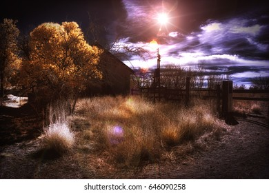 Infrared False Color Sunset and Ranch