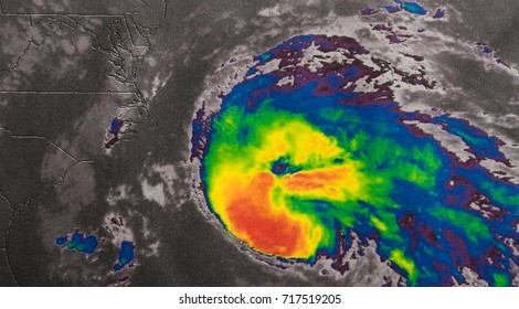 Infrared image of Hurricane Maria bearing down Caribbean islands, about 400km east-southeast of the Leeward island of Dominica. Elements of this image furnished by NASA.