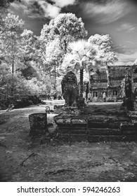 Infrared image of Khmer architechture in Angkor wat, Cambodia