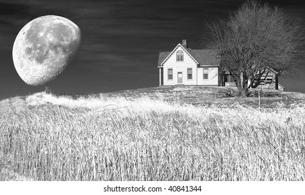 infrared image of the little house on the hill