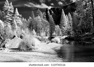 Infrared image of Merced River Yosemite Valley