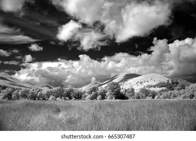Infra-red images open parkland and mountains, Loch Lomond, Scotland