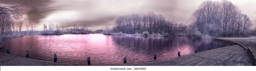 Infrared landscape in the park of Milan in a winter afternoon