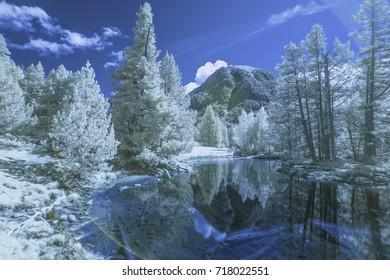 Infrared long exposure photography: Lake within Aiguestortes  National Park, Vall de Boi, Lleida, Catalunya, Spain