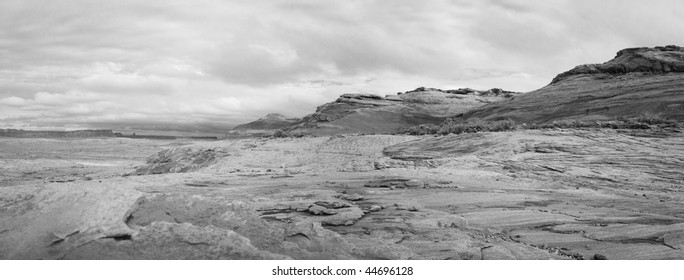 Infrared panoramic landscape taken close to the Lake Powell in Arizona
