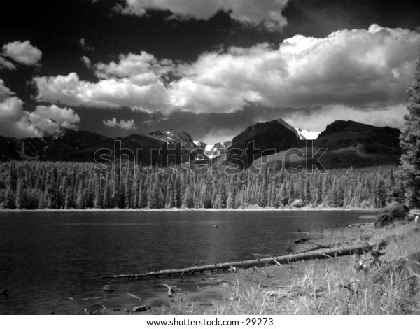 Infrared photo of Nymph Lake in Rocky Mtn Natl Park