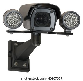Infrared security black camera isolated with clipping path