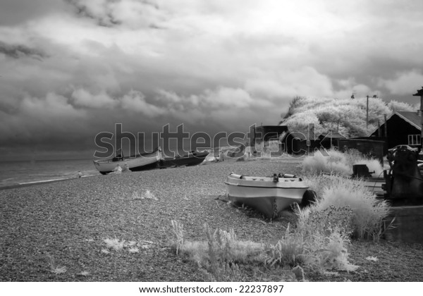 infrared shot of Dunwich Beach, Suffolk, uk