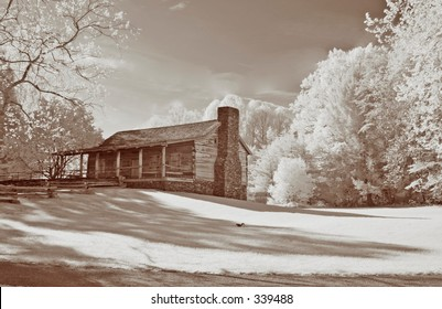 Infrared shot of an old cabin in Cades Cove, TN, Great Smoky Mountains National Park. Modified 6MP camera with 720 nm IR filter to enable faster shutter speed.