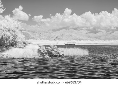 Infrared view of boat on skadar lake