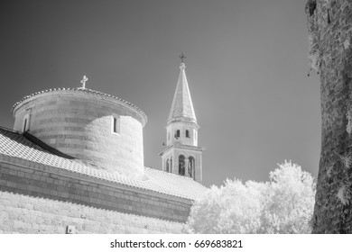 Infrared view of old church tower in Budva