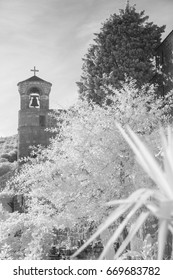 Infrared view of old Monaster in Budva