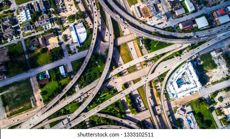 infrastructure of Houston Aerial View Straight down above Highways and Interchanges , loops , and road intersections in Houston , Texas , USA