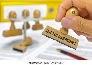 infringement marked on rubber stamp