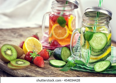 Infused Water with Fresh Strawberries, Lemon, Cucumber, Kiwi and Mint