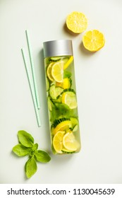 Infused water-flat lay