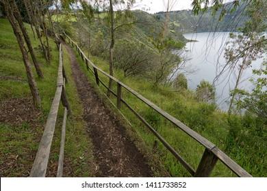ing path along Cuicocha crater lake in Ecuador