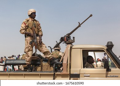 Ingall, Niger - september 2013: Governmental military guard in North Africa Car with armed soldiers
