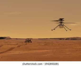 Ingenuity Mars Helicopter in Flight. Elements of image furnished by NASA.