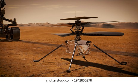 Ingenuity Mars Helicopter Ingenuity on the Martian Surface. Elements of image furnished by NASA.